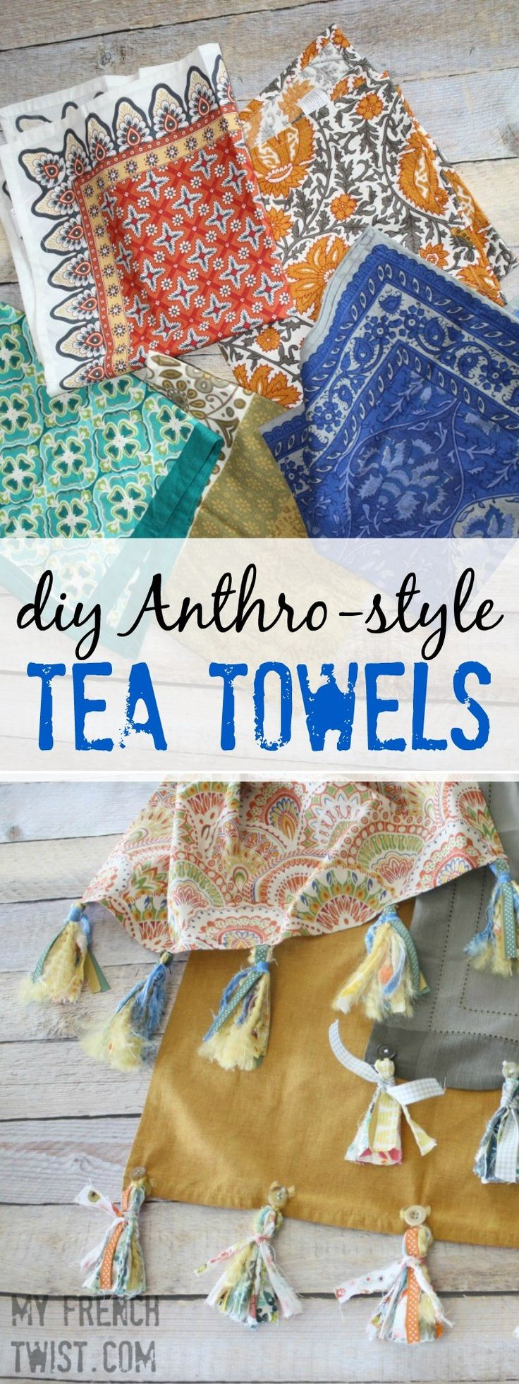 Sweetest little anthro hack ever! Tea towels http://www.myfrenchtwist.com/made-anthro-hack-tea-towels/