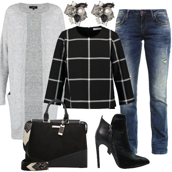 Outfit perfetto per il tempo libero composto da deliziosa camicetta black a scacchi con manica a 3/4, jeans a sigaretta con strappi e cardigan light grey. Completano questo look stivaletti con tacco alto e borsa a mano black. Orecchini grey come gioiello.