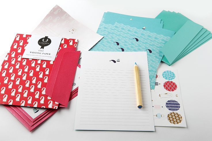 The East Collection of stationery features writing paper, the blue whale or the golden goose packed with stickers and envelopes