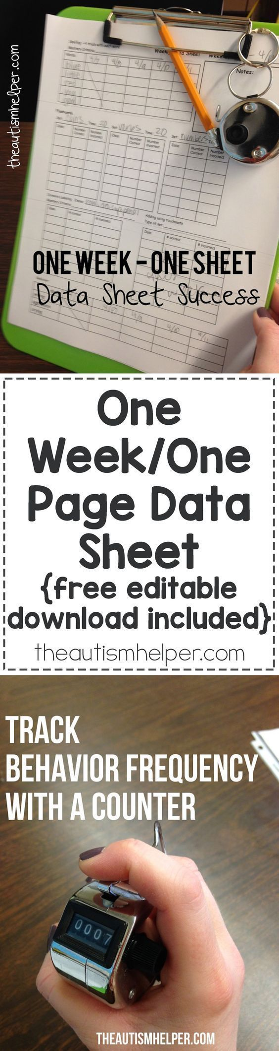 Having data all on one page in a compressed & organized setup helps make the data process as streamlined as possible! Download our One-Week-Data-Sheet for FREE on the blog!! From theautismhelper.com #theautismhelper