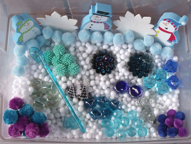 Nurturing Naters with learning activities at home: Winter Sensory Tub, January 2011 01, snowman sensory tub