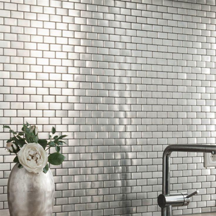 edelstahl mosaik fliesen silber 23x48x8mm fliesenspiegel. Black Bedroom Furniture Sets. Home Design Ideas