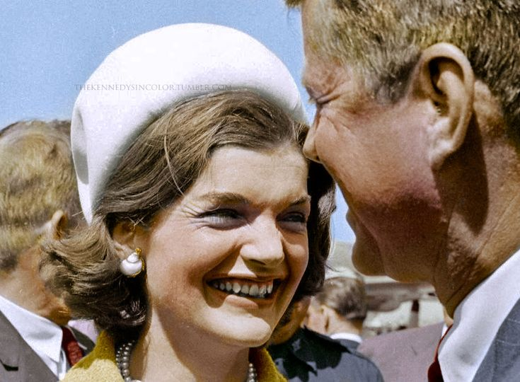 "thekennedysincolor: ""Smiling First Lady Jackie Kennedy and President John F. Kennedy, ca. 1960s """