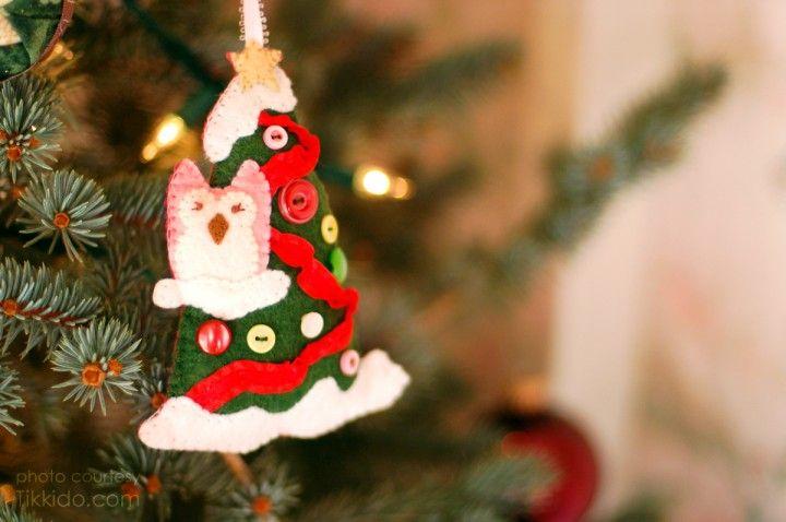 Felt Owl & Tree Ornament