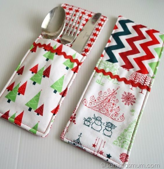 DIY Sewing Projects for the Kitchen - Cutlery Pockets - Easy Sewing ...