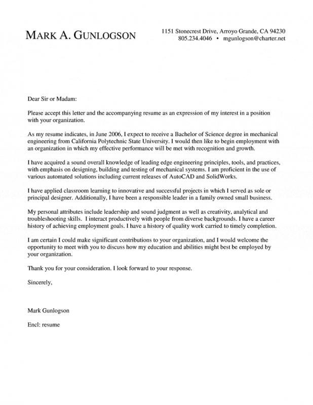 Chemical Engineering Resume Cover Letter For Resume Resume