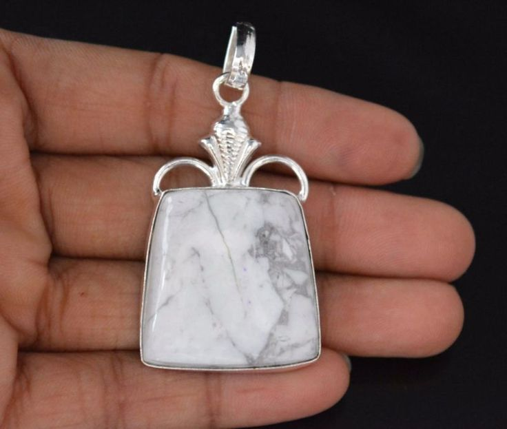 New Designer Collection Howlite 925 Silver Plated Pendant Xmas Gift For Her E741 #valueforbucks #Pendant
