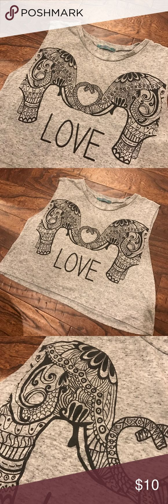 Aztec Elephant Love Crop Top Super adorable grey speckled, Aztec elephant crop top! Gently worn. Perfect for a bathing suit cover up at the beach or a concert! Julie's Closet Tops Crop Tops