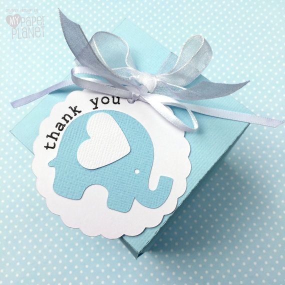 baby elephant thank you tags birthday party favors baby shower thank you gifts new baby pastel blue white and grey text options