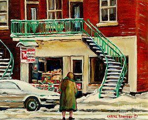 Bakery Painting - Vintage Montreal Art Verdun Depanneur Winter Scene Paintings Staircases And 7up Signs Carole Spandau by Carole Spandau