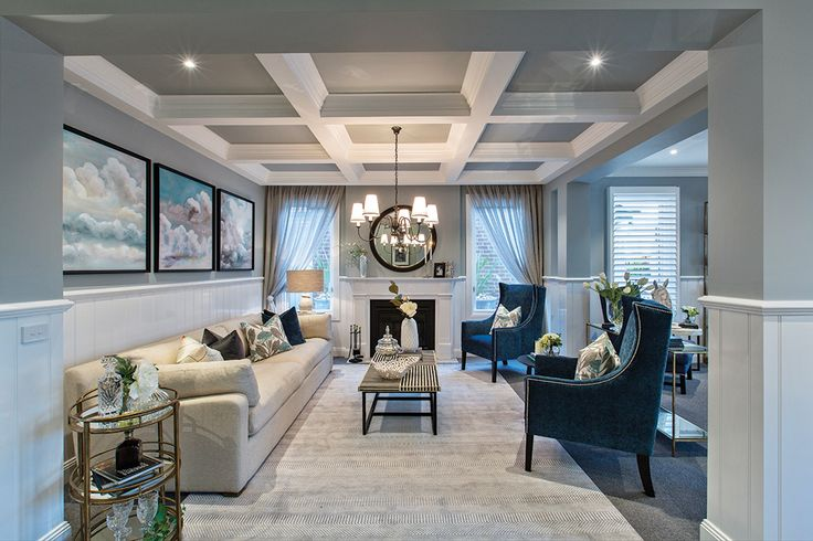 Sophisticated formal lounge in the Astor Grange with Classic Hamptons World of Style.