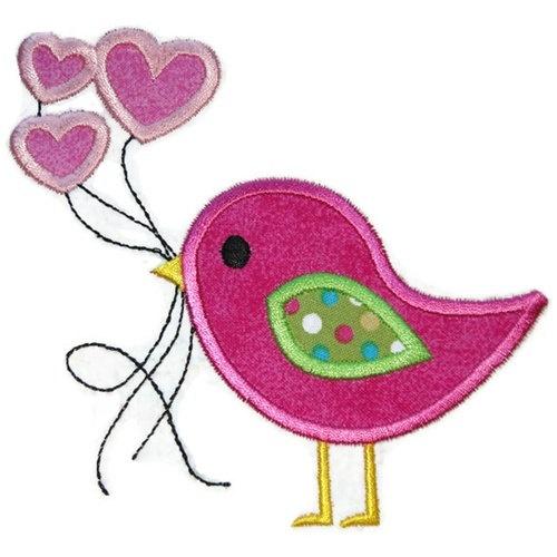 Valentine Bird Balloons Applique Design by SimplySweetEmbroider, $4.00