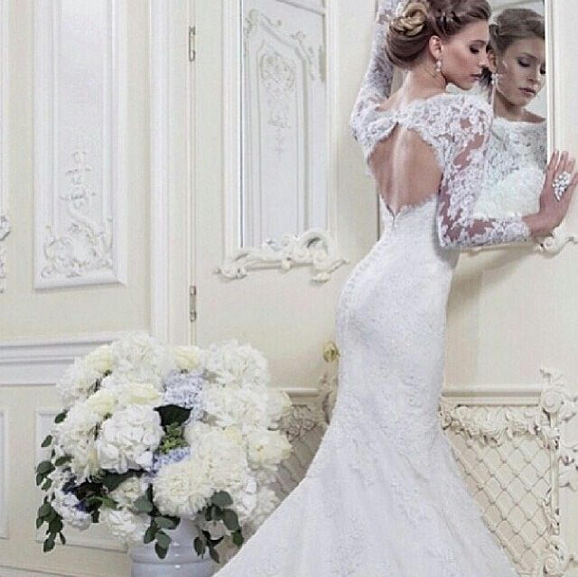 Lace fitted long sleeve wedding dress wedding bells for Long sleeve wedding dresses pinterest