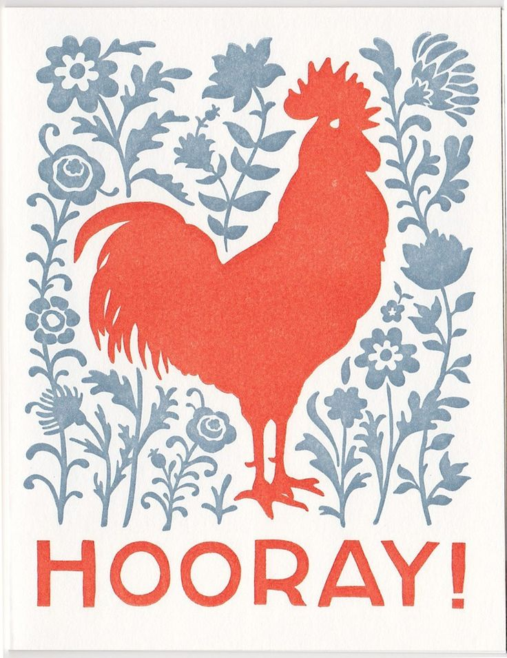 set of five HOORAY letterpress rooster cards. $18.00, via Etsy.