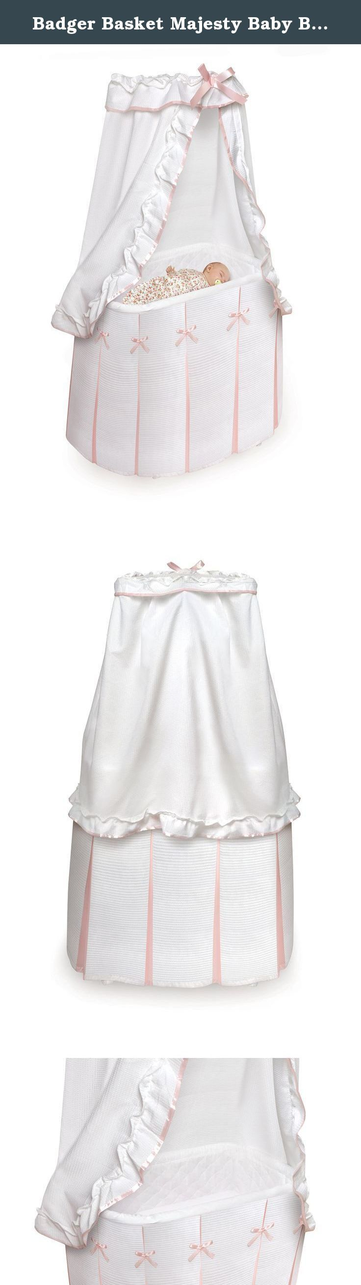Badger Basket Majesty Baby Bassinet with Canopy, White/Pink. Badger Basket's Majesty Bassinet comes complete with everything your baby needs for the first few months of sleep. Cozy and comfortable, it features crisp bedding with just enough ruffles and bows. The wheels can be flipped up to rock the bassinet like a cradle! Metal frame assembles quickly and the bedding is easily attached. Complete bedding set (canopy, fitted sheet, and floor-length liner/skirt) and foam pad included. Mesh...
