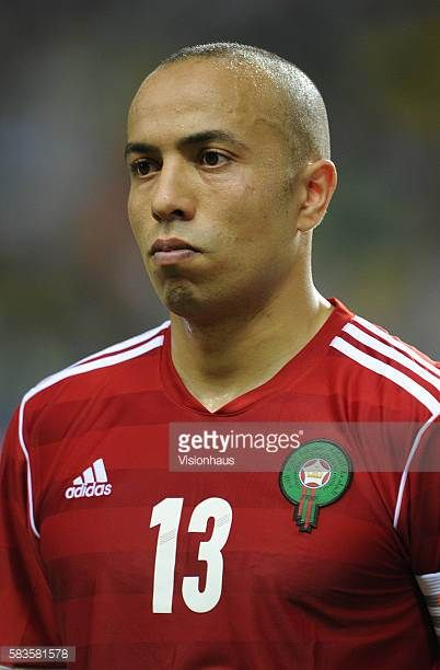 Houssine Khaja of Morocco during the 2012 African Cup of Nations Group C match between Gabon and Morocco at the Stade de l'Amitie in Libreville Gabon...