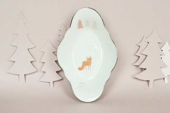 Dish with a fox and trees by StudioRobinPieterse on Etsy, $32.00