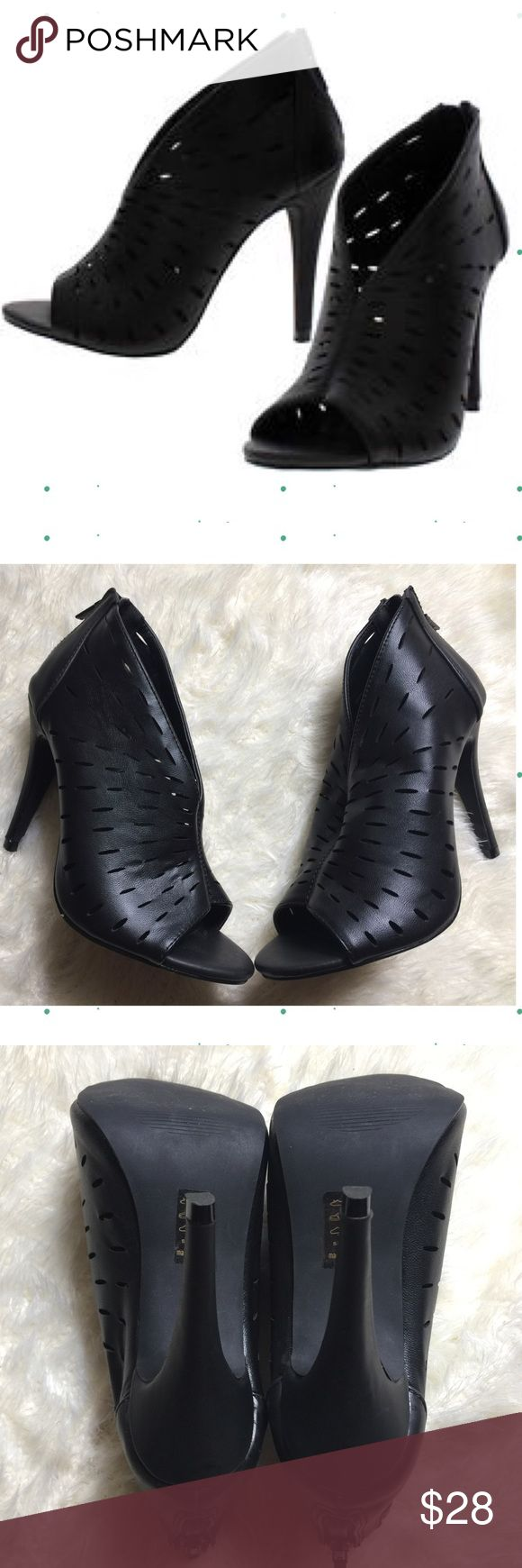 """Perforated Open Toe Bootie Heels MICHAEL ANTONIO Perforated Open Toe Bootie Heels 💕Like new! Only used for a few hours💕Size 6. These bootie heels include a faux leather upper in a perforated design, low cut, open toe, back zipper closure, smooth lining and cushioned insoles. Approximately 4 inch heels. Original box not included. ❌Trades ❌Holds ❌ Lowball Offers ✅ Use the """"ADD TO BUNDLE"""" link to get 15% off discount on 2+ items Michael Antonio Shoes Heels"""