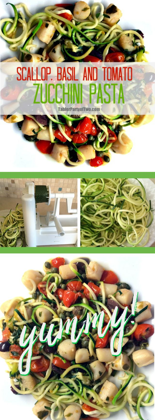 Scallop, Basil and Tomato Zucchini  Pasta recipe - This is an incredibly healthy and delicious dish! Plus it's paleo friendly. The zucchini pasta is so much quicker than regular pasta. And can I just say... I LOVE my spiralizer that makes these zoodles! TablerPartyofTwo.com