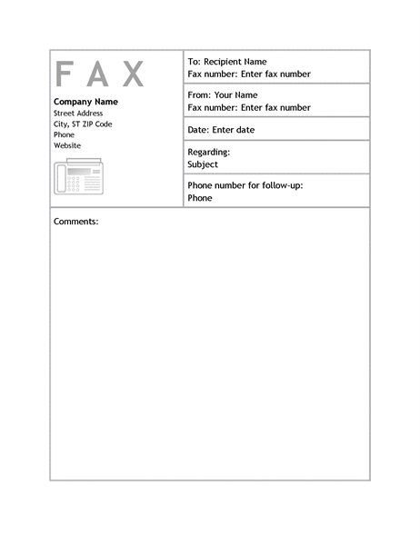 Add your company's name, address and logo to the top left of this fax cover sheet; features sender and recipient information along with a large comments area. This is an accessible template