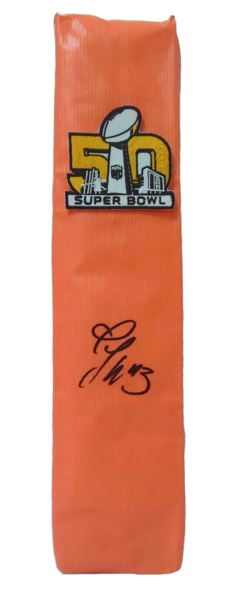 T.J. Ward Autographed Denver Broncos SB 50 Full Size Football End Zone Touchdown Pylon, Proof
