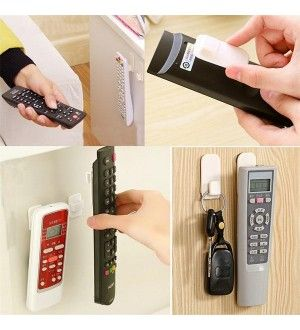 2 x Home Self Adnesive Portable TV Remote Control Key Air Conditioner Holder Storage Box Door Wall Sticky Hook