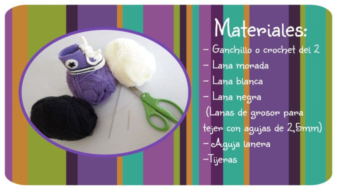 Materiales patucos crochet Converse All Star