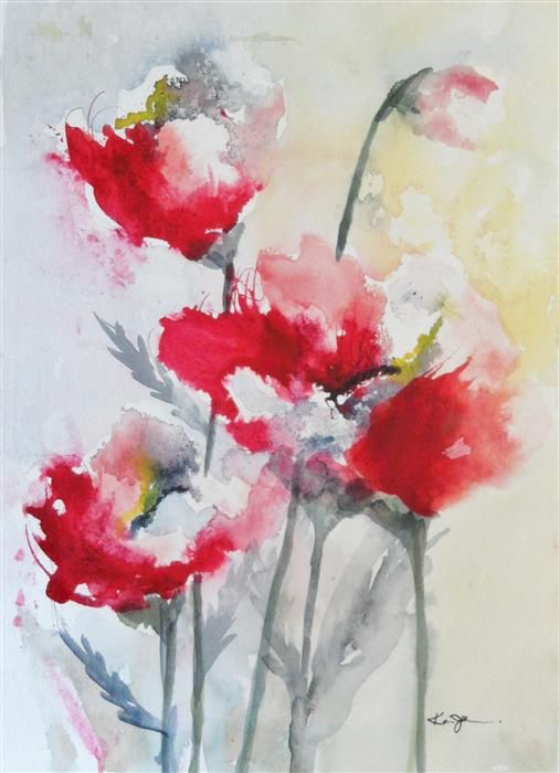 Original art for sale at UGallery.com | Red Poppies 3 by Karin Johannesson | $265 | watercolor painting | 16 h x 11 w