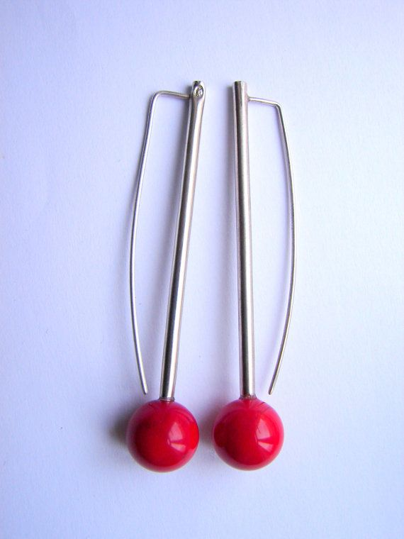 Red Planet, coral earrings by Orsolya Kecskés