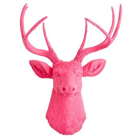 hello pink.: Faux Resins, Faux Taxidermy, Resins Deer, Clock, Deer Heads, Gray Faux, Head Modern Sculpture, Modern Desks, Deer Head Silhouette