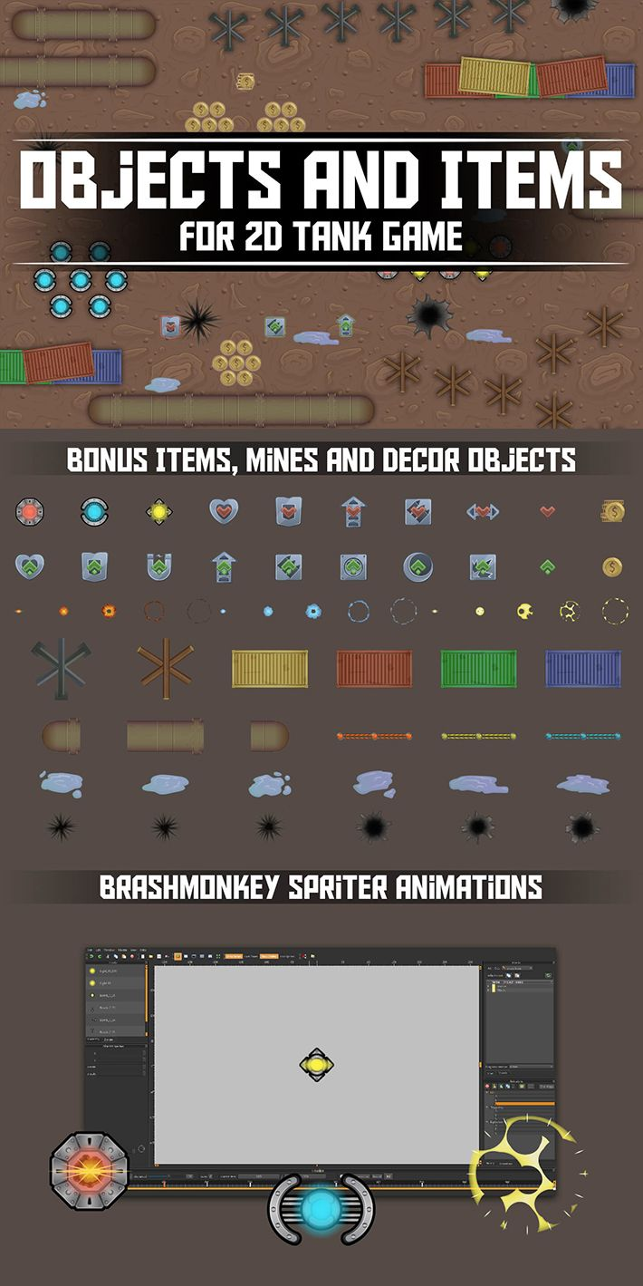 Free Objects And Items For 2d Tank Game Craftpix Net Game Assets Game Design Tank