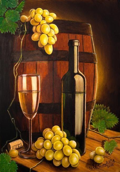Natura morta con botte,uva,calice e bottiglia