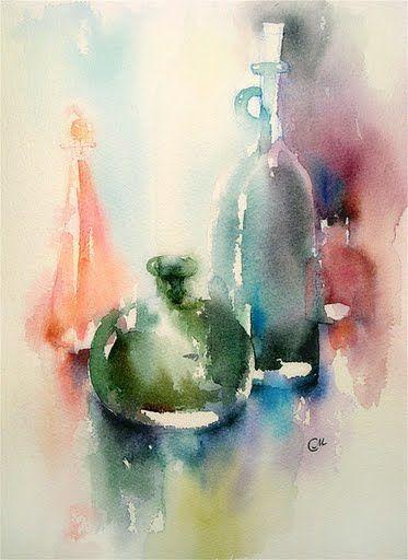 Watercolors by Maria Stezhko (Акварели Марии Стежко): Bottles - SOLD