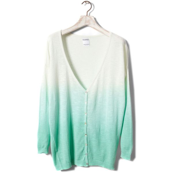 Pull & Bear Dip Dye Jacket (24 BRL) ❤ liked on Polyvore featuring tops, cardigans, sweaters, shirts, knitwear, dip-dye shirts, dip dye top, green shirt, shirt tops and cardigan shirt