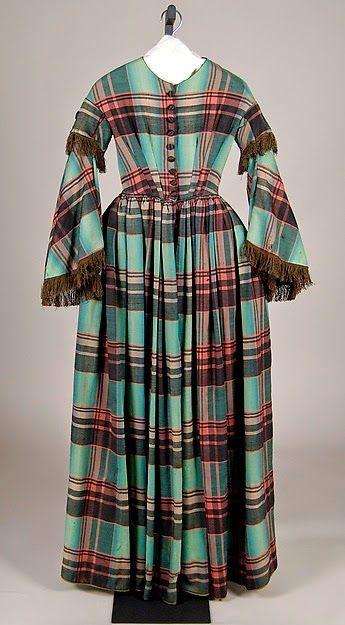 Tartan wool dress, 1855-60