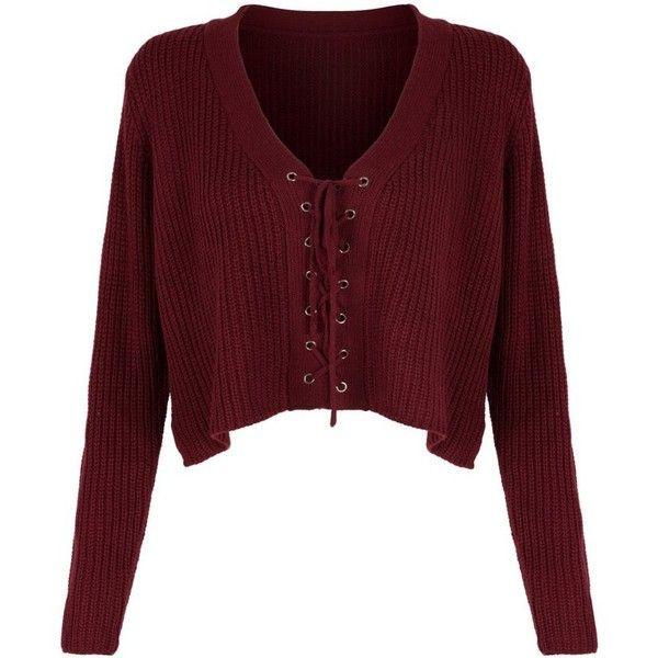 Burgundy V-neck Lace Up Front Crop Knitted Sweater (£39) ❤ liked on Polyvore featuring tops and sweaters