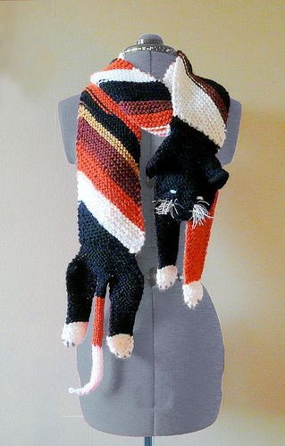 Free knitting pattern Bracken Cat Scarf pattern by Fifalde. She gets asked by strangers where she got this scarf and I can see why!. This and more fun scarf knitting patterns at http://intheloopknitting.com/novelty-scarf-knitting-patterns/