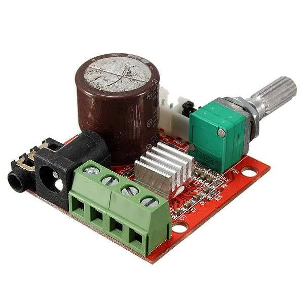 12V Mini Hi-Fi PAM8610 2X10W Audio Stereo Amplifier Board Dual Channel Feature: Work: D Class Quiescent current: 20mA Operating voltage: DC7.5 V- 15V Rated output power: 10w + 10w (8Ω) Frequency response: 20Hz to 50KHz Recommended supply voltage: 12V, the center PIN of 12VDC is...