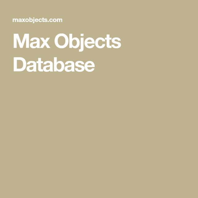 Max Objects Database