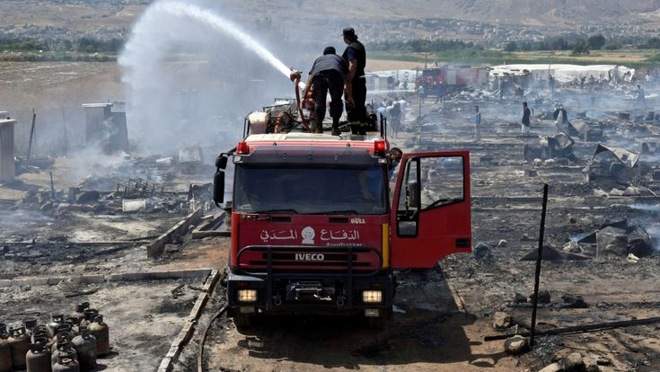 One child killed and several people injured as major blaze engulfs camp for Syrian refugees in Lebanon's Bekaa Valley.