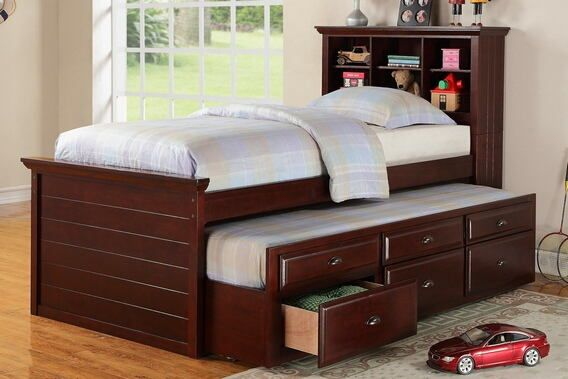 """Cherry finish wood panel design twin trundle bed with bookcase headboard and drawers.  This set includes the Bookcase headboard, Trundle bed pull out with 3 built in drawers.  Measures 89"""" x 44"""" x 50"""" H.  Includes slats.  Some assembly required."""