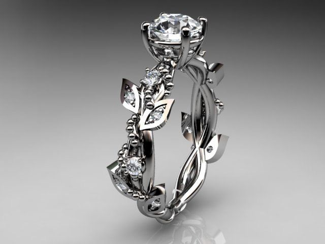 14kt whitegold  diamond leaf and vine wedding ring,engagement ring $1,100.00, via Etsy.