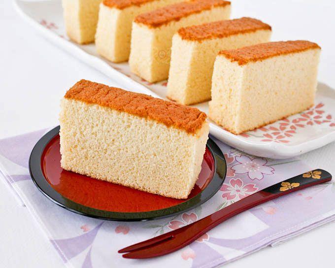 Honey Kasutera (Honey Castella) - fine textured Japanese sponge cake raised solely by egg foam. Only 4 ingredients - eggs, sugar, bread flour, and honey.