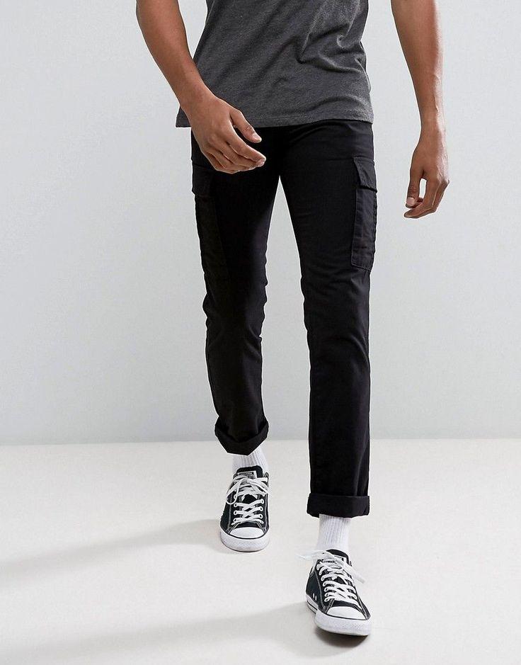 New Look Slim Cargo Pants In Black - Black