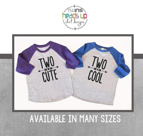 Twin 2nd Birthday Shirts Boy Girl Second Bday Tees Raglan
