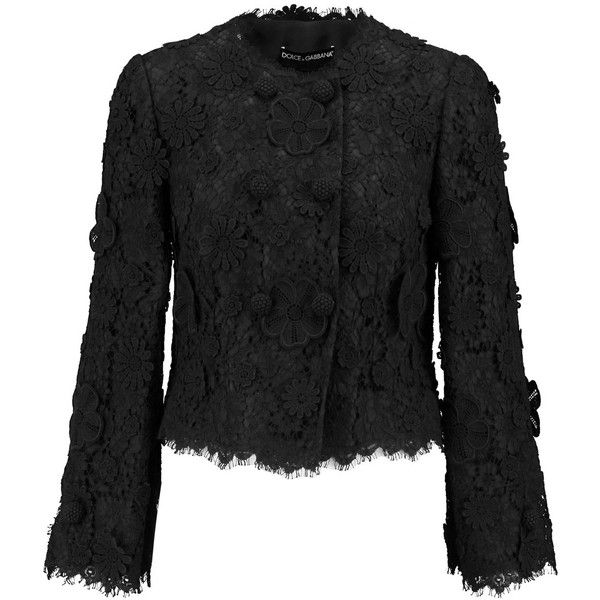 Dolce & Gabbana Cotton-blend guipure lace jacket (52 455 UAH) ❤ liked on Polyvore featuring outerwear, jackets, black, dolce gabbana jacket, lace crochet jacket, lace jacket and crochet jacket