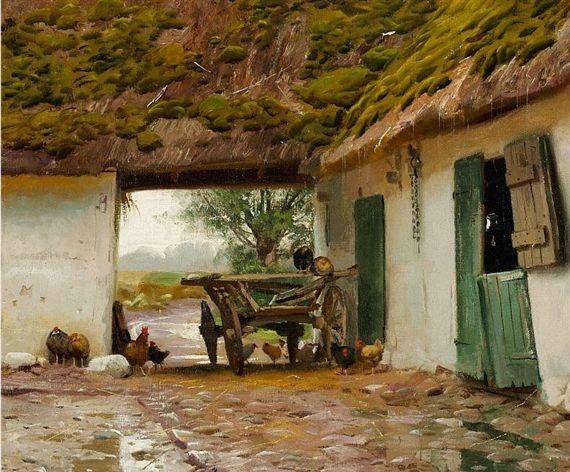 Peder Mork Monsted, A cart in a gateway of a farm