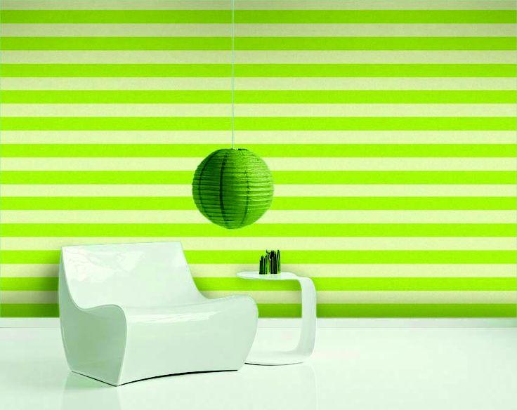 Empapelado - Raya verde manzana - Papel de parede