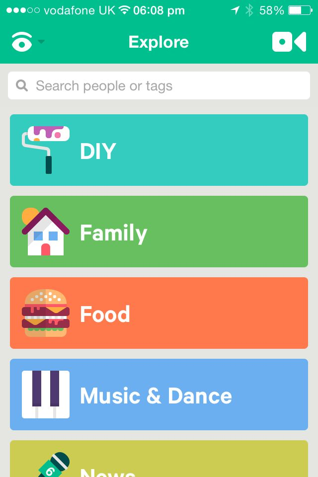 Vine app design UI UX