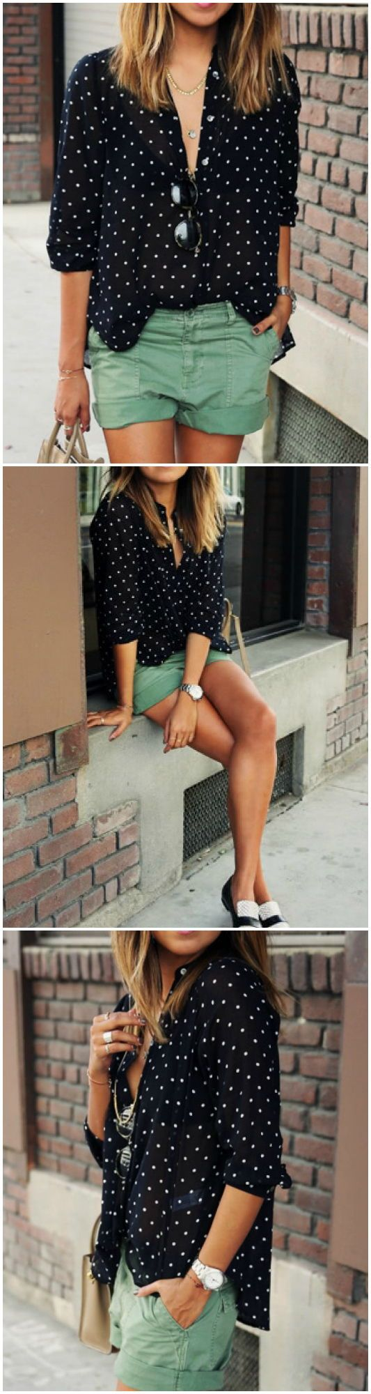 Black Polka Dot With Buttons Blouse #ad